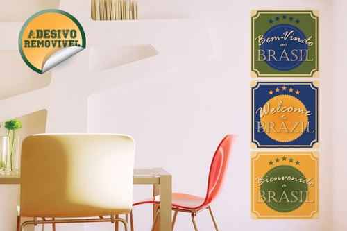 adesivo de parede bem vindo ao brasil - mudo minha casa