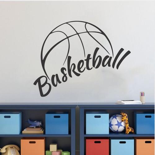 adesivo de parede bola basquetebol basquete jogador 100x78cm