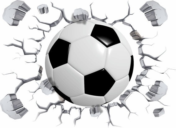 91772848c1806 Adesivo De Parede Bola De Futebol - Efeito 3d Buraco Parede - R  45 ...