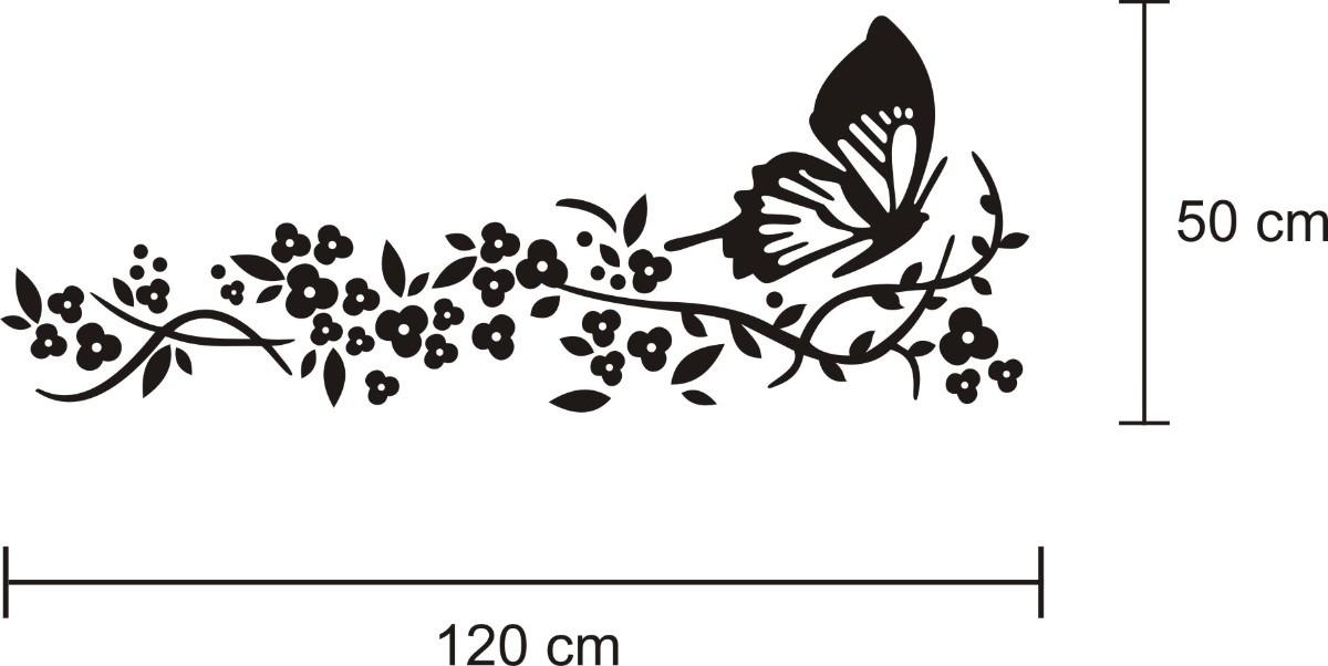 Aparador Em Mdf ~ Adesivo De Parede Borboleta + Flores Frete Grátis R$ 31,89 em Mercado Livre