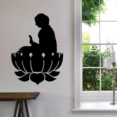 adesivo de parede buda budismo flor de lótus vida 100x72 cm