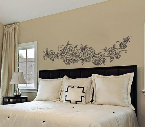 adesivo de parede cabeceira cama casal rosa flor 140x40 cm