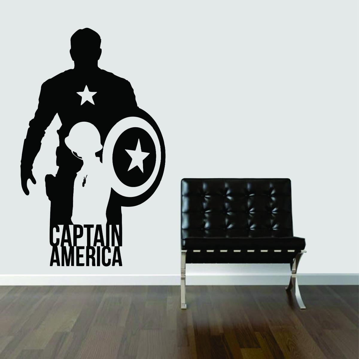 Armario De Cozinha Pequeno E Barato ~ Adesivo De Parede Capit u00e3o América Escudo Estrela Super