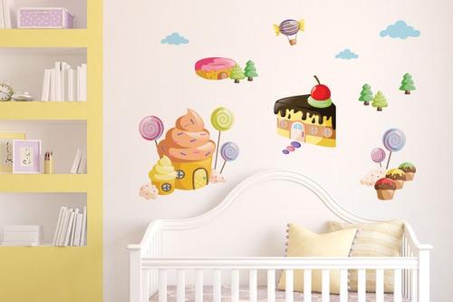adesivo de parede casinhas de doce - mudo minha casa