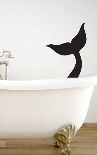 adesivo de parede cauda sereia mar peixe 53x70 cm