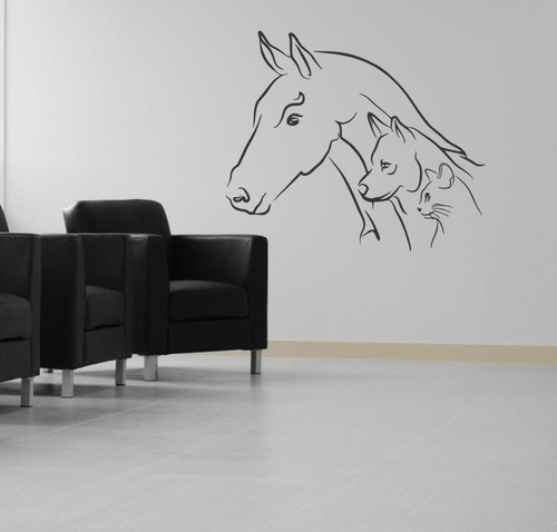 adesivo de parede cavalo animais gato cão natureza 85x100 cm