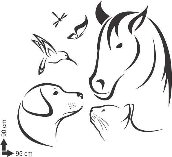 Adesivo De Parede Cavalo Animais Gato Cao Natureza 90x95 Cm R