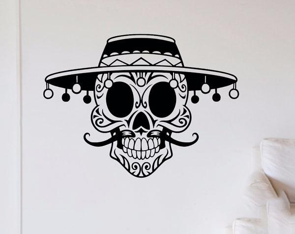 Adesivo De Parede Caveira Mexicana Mustache Quarto Sala Bar R