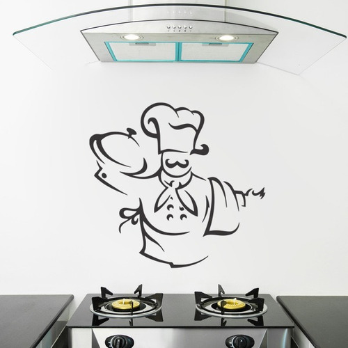 adesivo de parede chef chefe cozinha blanche chapéu 85x80cm