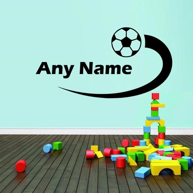 ddb127e124594 Adesivo De Parede Com Seu Nome E Bolas De Futebol Infantil - R  34 ...