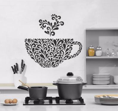 adesivo de parede cozinha xícara café cafezinho coffee 70x75