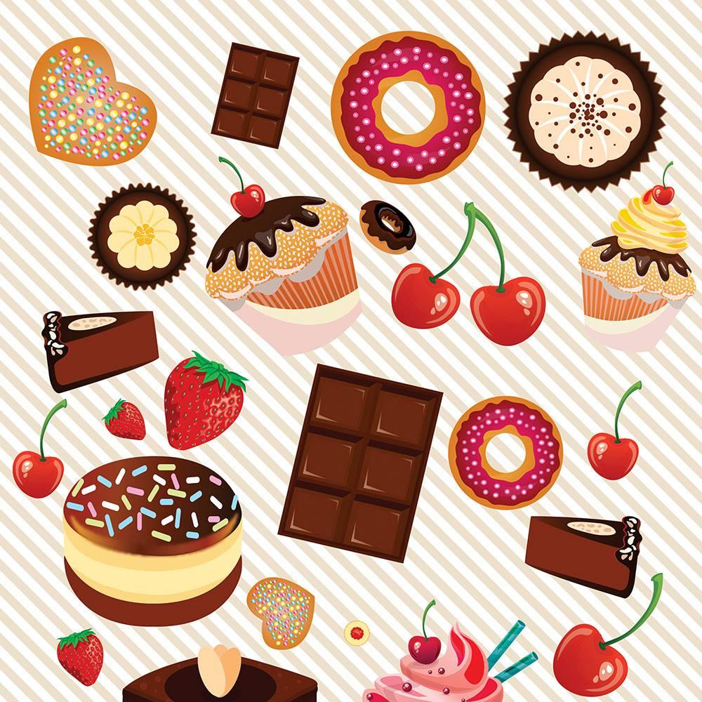 Loja Artesanato Zona Sul ~ Adesivo De Parede Cupcake Doces Frutas Lavável Fosco 2,50 R$ 47,99 em Mercado Livre