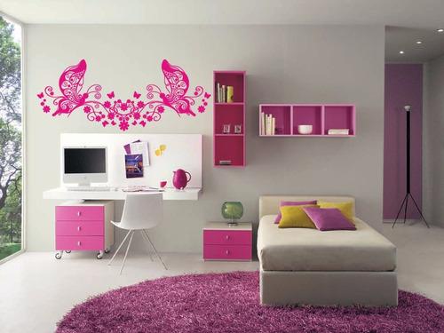 adesivo de parede decoração borboleta flores extra grand