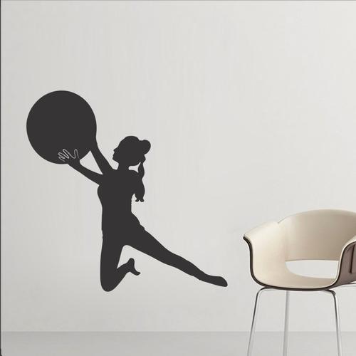 adesivo de parede decorativo academia bola pilates 90x90cm
