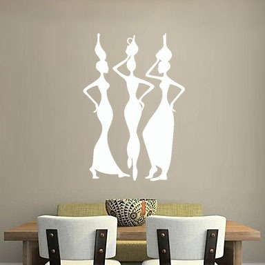 adesivo de parede decorativo africanas mulher vaso negra