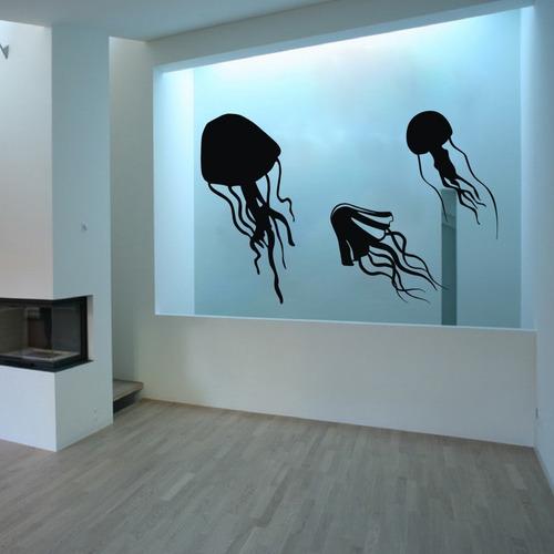 adesivo de parede decorativo água viva mar praia animal
