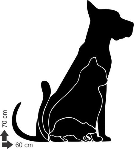 adesivo de parede decorativo animais cachorro cão gato rato
