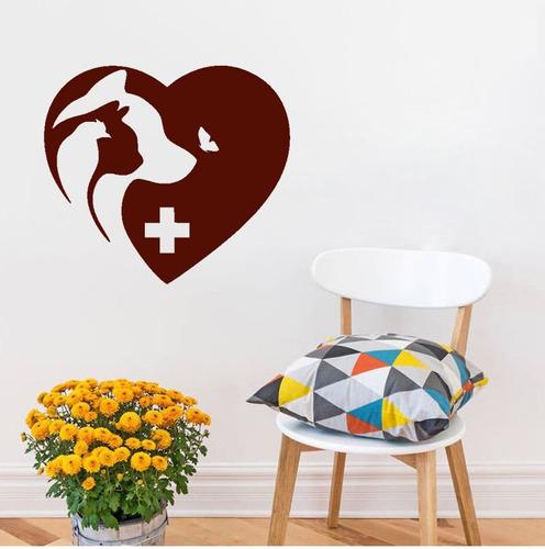 adesivo de parede decorativo animais gato cão passaro 80x90