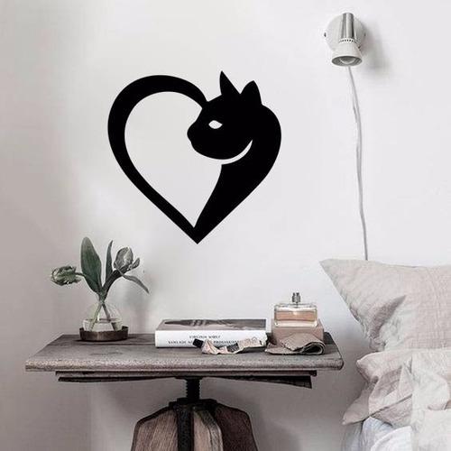 adesivo de parede decorativo animais gato coração amor 60x60
