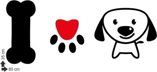 adesivo de parede decorativo animal cachorro cão amor osso
