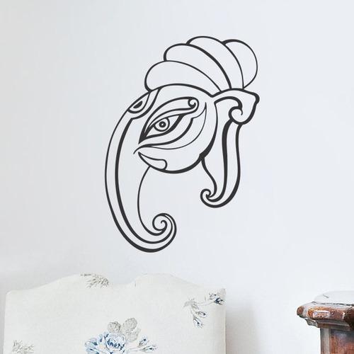 adesivo de parede decorativo animal elefante ganesha 80x50cm