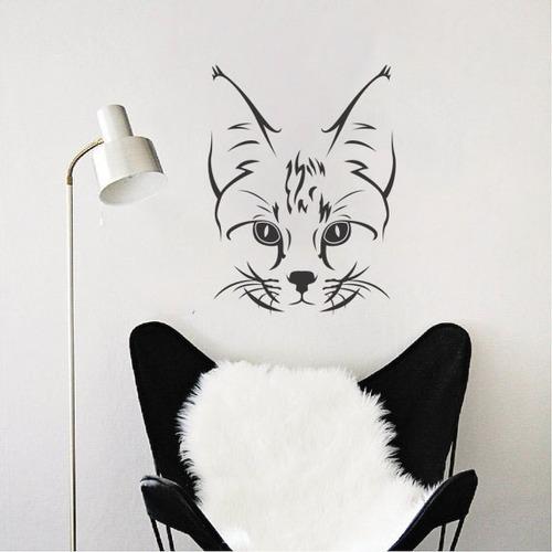 adesivo de parede decorativo animal gato bigode 60x45 cm