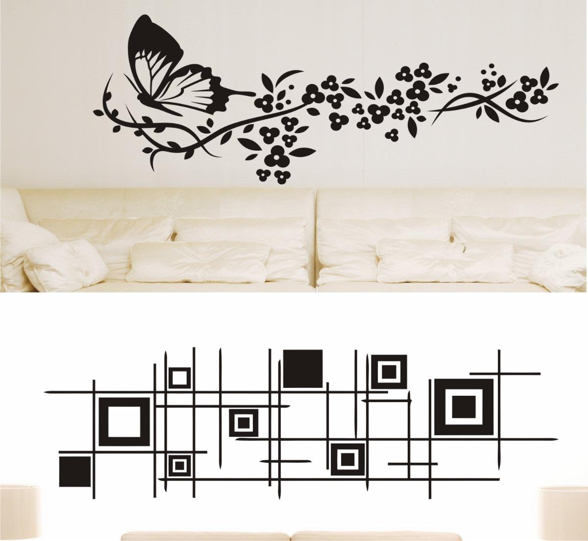 Adesivo De Parede Decorativo Arabescos Floral Flores R 36 89 Em  -> Adesivo Parede Sala Estar
