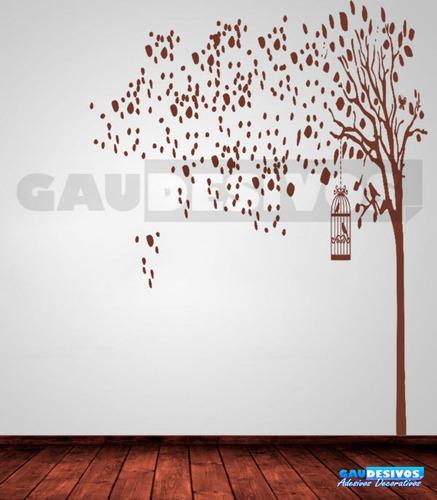 adesivo de parede decorativo arvore 2 metros, gaiola passaro