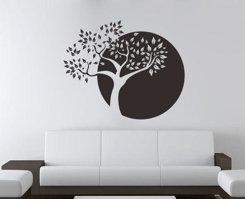 adesivo de parede decorativo árvore círculo folhas 120x98cm