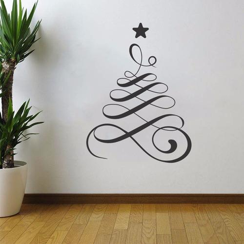 adesivo de parede decorativo árvore de natal estrela 100x75