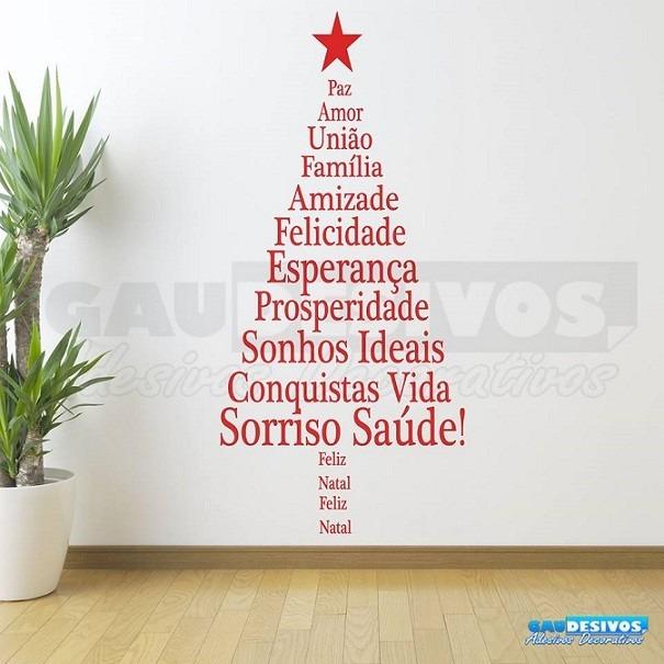 Adesivo De Parede Decorativo Arvore De Natal Felicitações R$ 47,11 em Mercado Livre