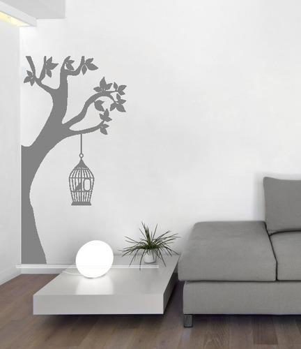 adesivo de parede decorativo árvore folhas pássaro 78x115cm
