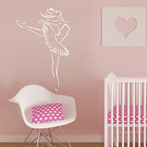 adesivo de parede decorativo bailarina ballet  menina 100x65