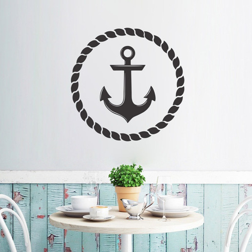 adesivo de parede decorativo barco mar âncora praia 60x60 cm