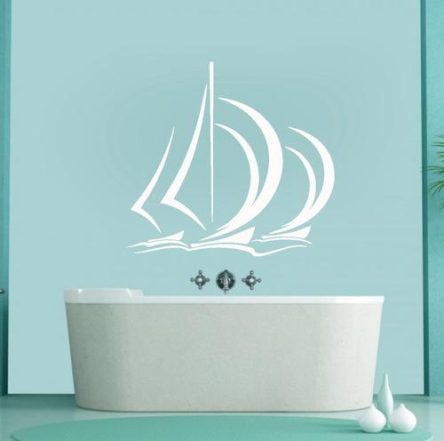 adesivo de parede decorativo barco mar praia vela 70x75 cm