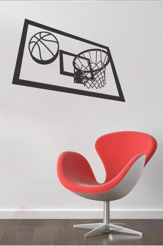 adesivo de parede decorativo bola basquetebol cesta basquete