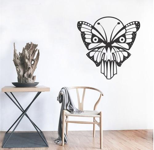 adesivo de parede decorativo borboleta caveira asas 80x80 cm