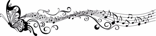 adesivo de parede decorativo borboleta com nota musical 2 metros