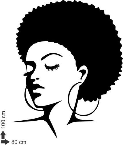 adesivo de parede decorativo cabelo negra africana 100x80cm