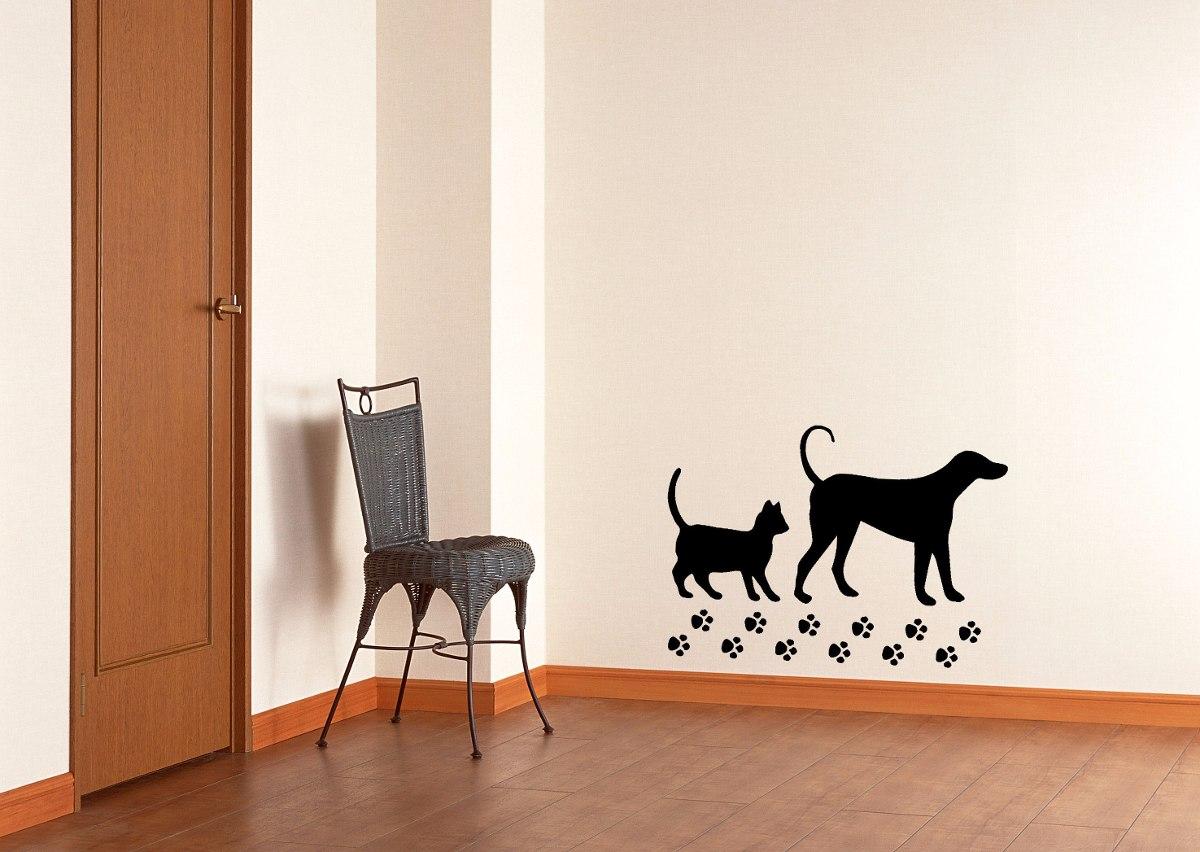 Adesivo De Parede Decorativo Cachorro E Gato Com Patinhas R 27 99  -> Adesivo Para Fotos