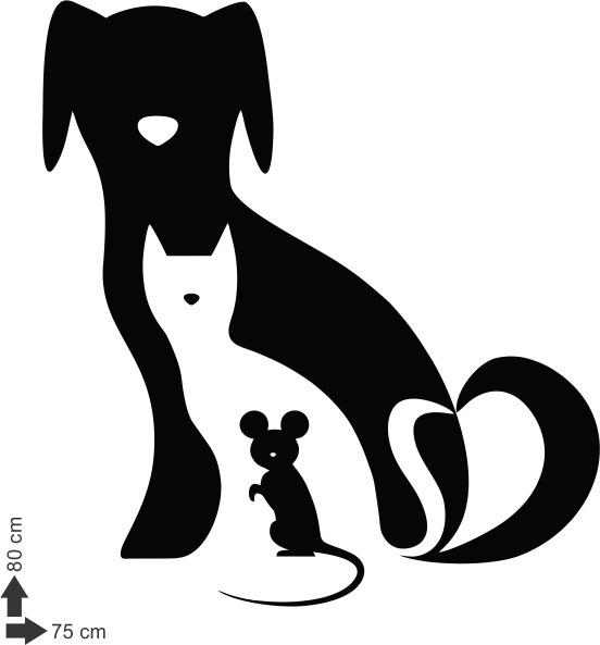 Adesivo De Parede Decorativo Cachorro Gato Rato 80x75cm R 47 60