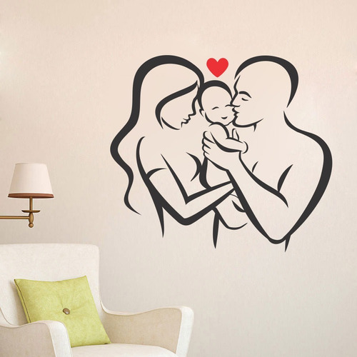 adesivo de parede decorativo casal família pais bebê 80x90cm