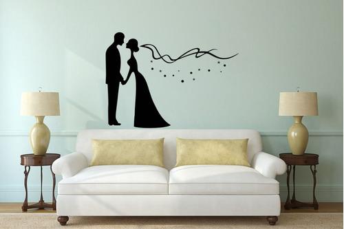 adesivo de parede decorativo casamento casal beijo 1x1m