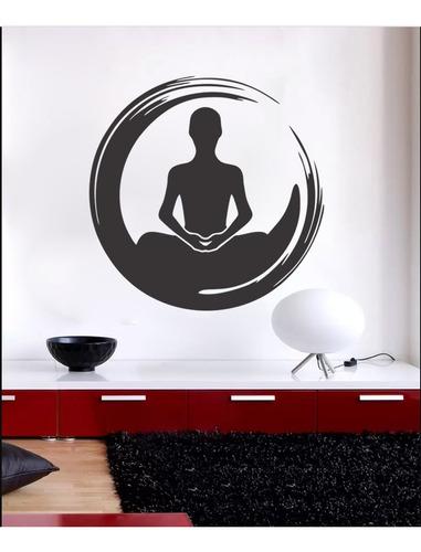 adesivo de parede decorativo círculo meditação yoga 100x100
