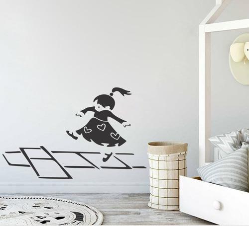 adesivo de parede decorativo criança amarelinha 110x70 cm