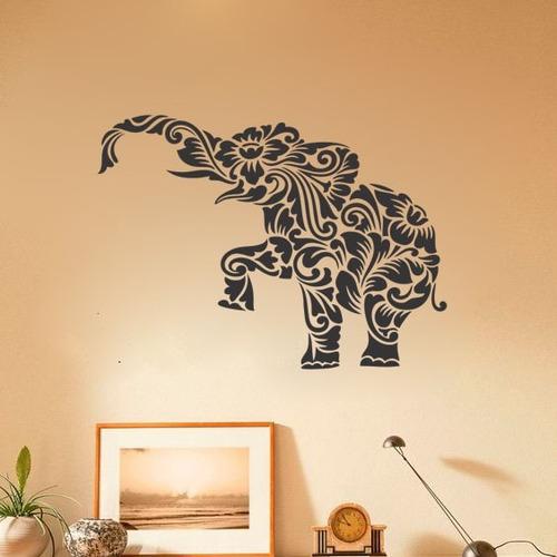 adesivo de parede decorativo elefante animal floral 110x80cm