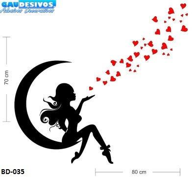adesivo de parede decorativo fada na lua com coração grande