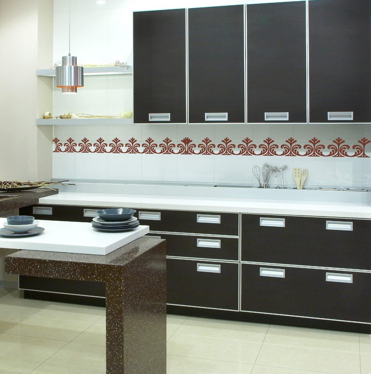 Adesivo De Parede Decorativo Faixa Border Cozinha Azulejo R$ 9 99  #6B473B 1189x1200 Azulejo Banheiro Parede
