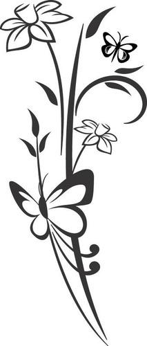 adesivo de parede decorativo floral e borboleta