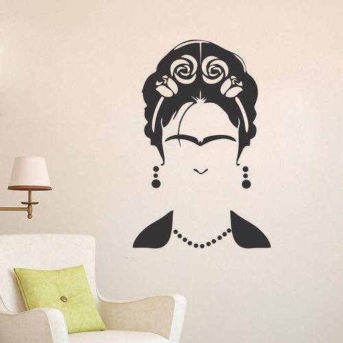 adesivo de parede decorativo frida rosa flor mulher 100x66cm